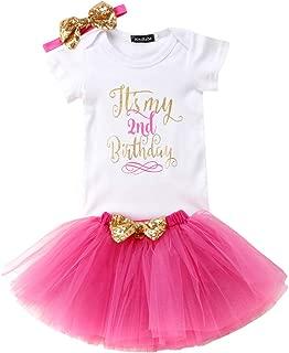 Girls'It's My Birthday Print Shirt Tutu Skirt Dress Outfit Set (Z-Rose red 2, 2T)