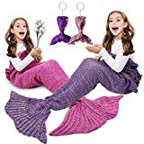 AmyHomie Kids Mermaid Tail Blanket, Soft Crochet Sleeping Snuggle Blanket for Teen Girls, Fish Scale Pattern, All Seasons Girls' Blankets, Gift Idea(2 PCS)