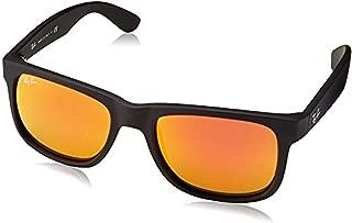 Bundle: Ray-Ban RB4165 Justin Rubber Black/Brown Mirror Orange 51mm & Carekit