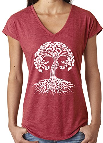 Yoga Clothing For You Ladies White Celtic Tree V-Neck Tee, Large Heather Red