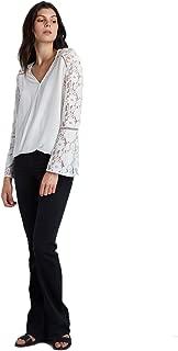 Women Long Sleeve Cold Shoulder Lace Blend Silk Kareen Top