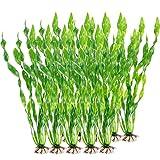 XIAOQI Plantas de agua artificiales para plantas de pecera, plantas de acuario, algas marinas para acuario, pecera, decoración del hogar, verde, 10 unidades