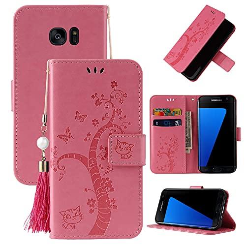 Cubierta protectora Flip Funda para Samsung Galaxy S7 Edge, cubierta de la billetera de cuero PU [Función de soporte] con el bolsillo de la ranura ID y las tarjetas de crédito, Cierre magnético TPU TP