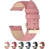 6 Colors for Quick Release Leather Watch Band, Fullmosa Cross Genuine Leather Replacement Watch Strap with Stainless Metal Clasp 18mm Pink, Rose Gold Buckle