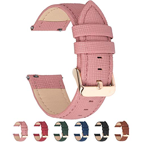 6 Colors for Quick Release Leather Watch Band, Fullmosa Cross Genuine Leather Replacement Watch Strap with Stainless Metal Clasp 18mm Pink