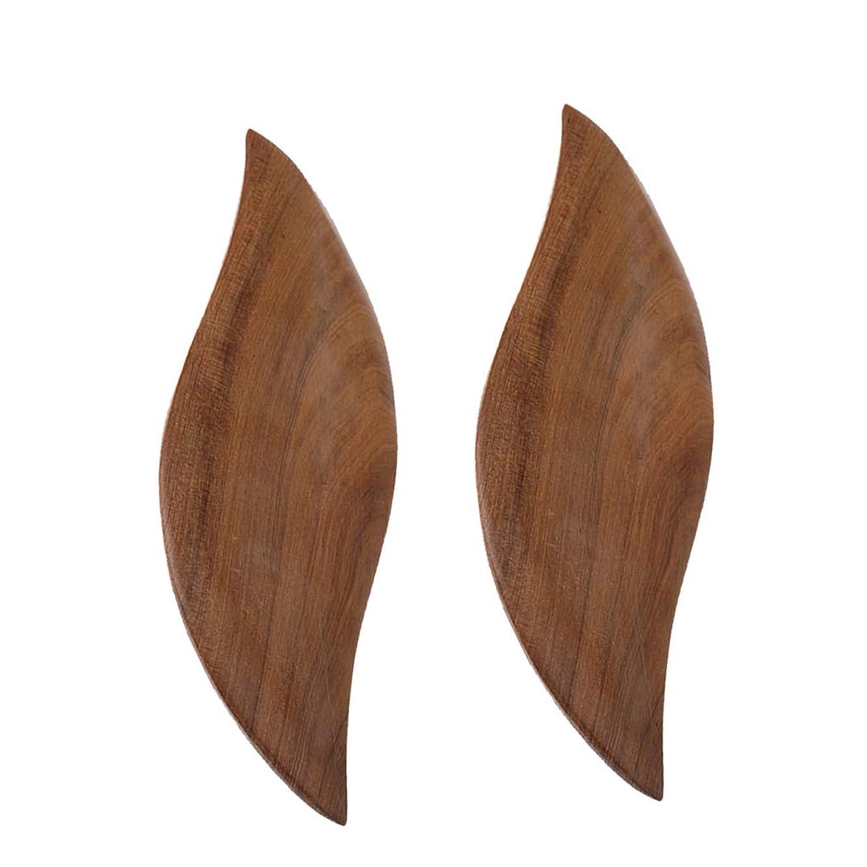 反毒ゲートストレスの多いD DOLITY 2枚 かっさプレート 木製 ボード ボディーケア 葉の形 便利
