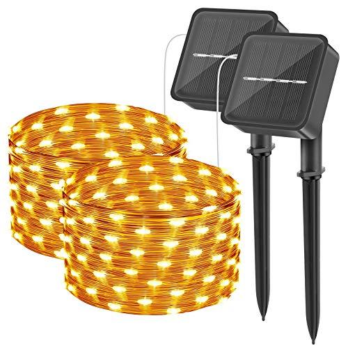 [2 Stück] Solar Lichterkette Aussen, 20M 200 LED wasserdichte Lichterketten mit Kupferdraht DIY Hochzeitsfeier Patio Geburtstag Gartenbäume Dekor (Warmweiß)