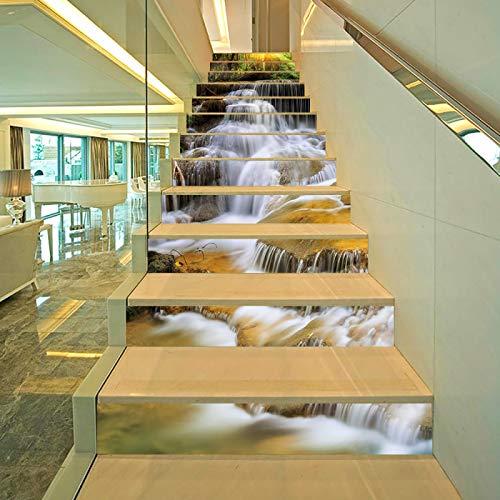 DHHY 3D Paisaje Cascada Escalera Pegatinas Escaleras Paisajismo Decoración Pegatinas Moda Paisaje Creativo Pegatinas De Escalera