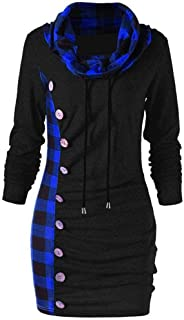 Women's Sweatshirt, FORUU Fashion Turn-Down Collar Button Plaid Patchwork Top Blouse