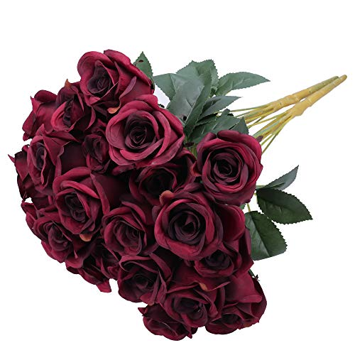 Greentime Artificial Burgundy Flowers 16 Inches Artificial Silk Rose Valentine's Day Rose Bouquet 12 Heads Vintage Rose for DIY Wedding Table Centerpiece Party Decor