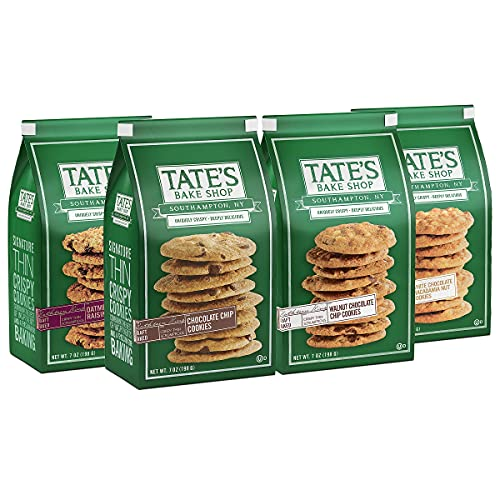 Tate s Bake Shop Cookies Variety Pack, Oatmeal Raisin, White Chocolate Macadamia Nut & Chocolate Chip Walnut Cookies, 7 Oz, Pack of 4