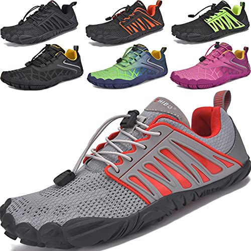 JACKSHIBO Zapatos Descalzos Hombre Mujer Zapatillas de Trail Running Minimalistas Zapatillas de Deporte Secado rápido de Verano Antideslizante Zapatos de Deportes Acuaticos (Gris Rojo,36EU)