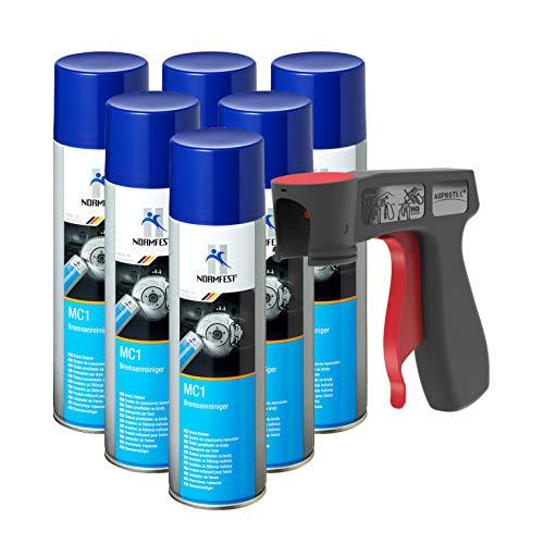 AUPROTEC Nettoyant de Freins Multicleaner MC-1 Purificateur Intense Transparent Spray 6X 500ml + 1x poignée Originale pour Bombes aérosols
