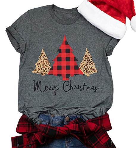 Merry Christmas T Shirt Women Xmas Leopard Plaid Trees Letter Print Shirts Casual Short Sleeve Tee Tops Blouse Gray