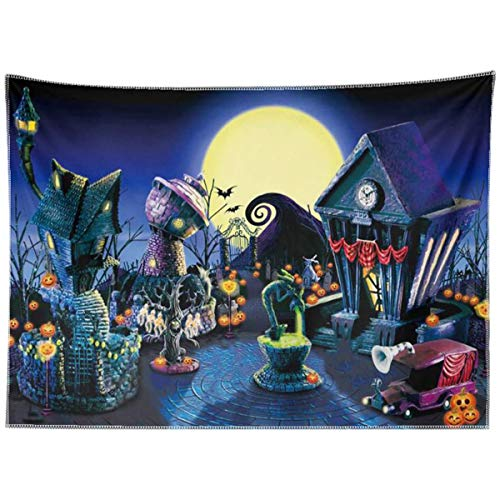 Allenjoy 8x6ft Durable Fabric Nightmare Before Christmas Backdrop Halloween Pumpkin Jack Lantern Haunted House Photograhy Background Birthday Baby Shower Wedding Party Supplies Decoration Photo Booth
