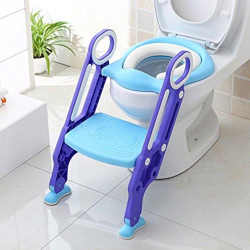 BAMNY Riduttore WC per Bambini con Scaletta Pieghevole, Kit Toilette Trainer Step Up con Cuscino Tenero Modello Universale (Azzurro)