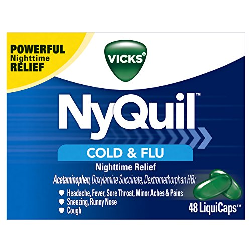 Vicks NyQuil Cough, Cold & Flu Nighttime Relief, 48 LiquiCaps - #1 Pharmacist Recommended,...