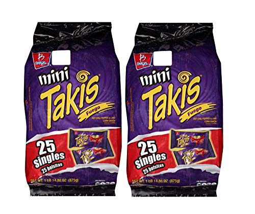 Mini Takis Fuego (2 Pack) Barcel Mexican Version Mega Deal Popular Classic Snacks Spicy Lemon Corn Chip Sticks Double Bag Bulk Deal Fancy Appetizers grab varieties & red hot flavor picante limon Bimbo