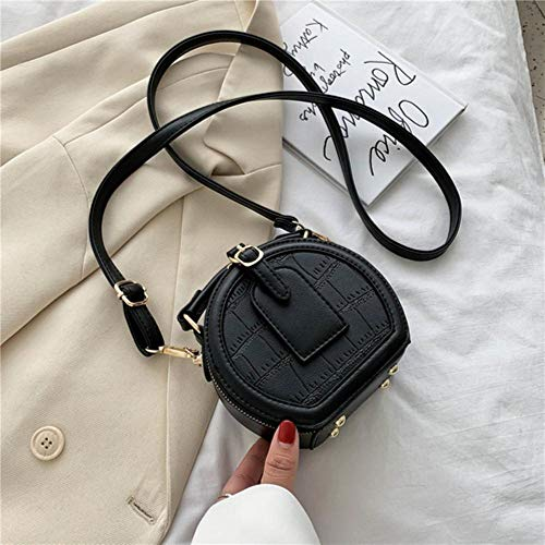 PANZZ Round Stone Pattern Solid Color Crossbody Bags Women Summer Travel Shoulder Sacs à Main, Noir, Mini