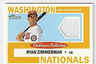 Ryan Zimmerman Clubhouse Collection Game Used Jersey Memorabilia Collectible Baseball Card - 2013 Topps Heritage Baseball Card #CCR-JH (Washington Nationals) Free Shipping