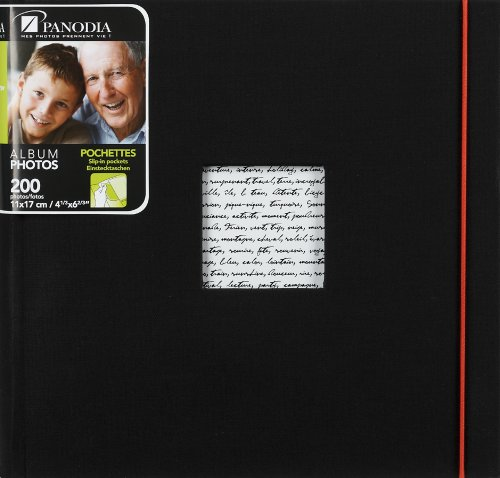 Panodia Fotoalbum Linea schwarz mit Taschen 200 Fotos 11x17cm