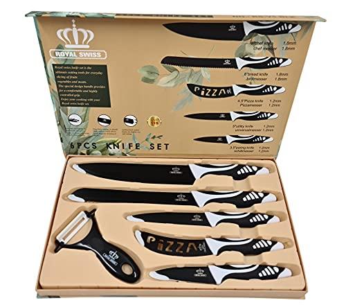 Juego set de cuchillos de cocina, conjunto de cuchillos profesionales, 5 cuchillos de acero inoxidable y 1 cuchillo pelador de verduras, en diversos colores (Negro)