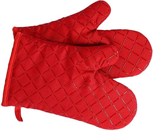 Premium Anti-Rutsch Ofenhandschuhe (1 Paar) bis zu 240 °C - Silikon Extrem Hitzebeständige Grillhandschuhe BBQ Handschuhe - Backofen Handschuhe, zum Kochen, Backen, Barbecue Isolation Pads (rot)