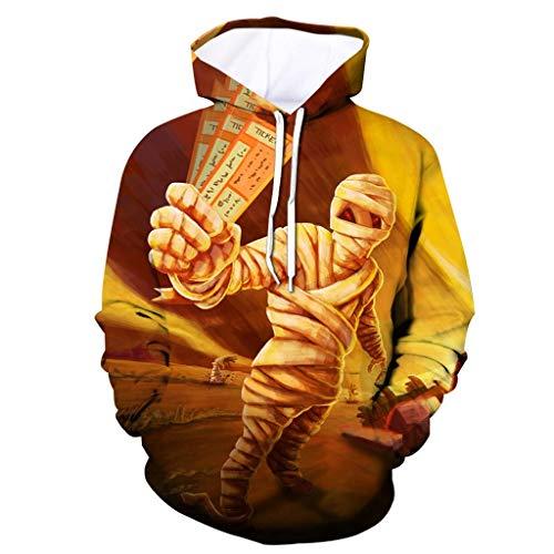 Dtuta Halloween Lässiger 3D-Pullover mit Geometrischem Muster,Kapuzen-Party-Langarm-Hoodie-Bluse,Hoodie Kapuzenpullover Unisex Kapuzen-Sweatshirt mit Samt