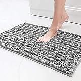 Color&Geometry Badezimmerteppich, Badematte rutschfest 40x60 cm, superweich ,Super Wasser aufnehmen, maschinenwaschbar Badteppich, Strapazierfähiger Mikrofaser-badvorlege für das Badezimmer (hellgrau)