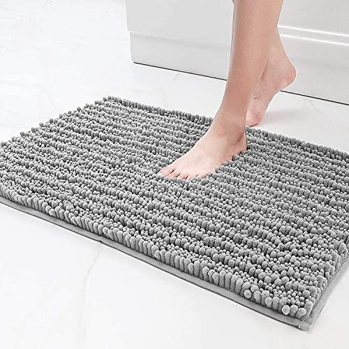 Color&Geometry Alfombra de baño antideslizante de chenilla peluda de 40 x 60 cm, alfombra de baño de microfibra suave, lavable a máquina, alfombras de baño duraderas que absorben agua, (Gris Plateado)
