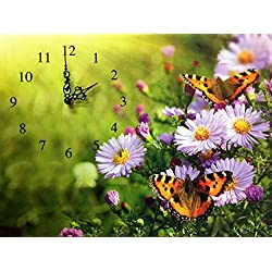 BANBERRY DESIGNS Butterfly Canvas Wall Clock - Butterflies and Purple Daisies on a Wall Clock - Vibrant Colors
