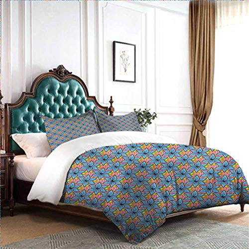 Bedding Duvet Cover Blue Flowers on a Background with Vivid Colors Ditsy Style Hawaiian Motley Pattern Queen Size W90 INCH x L90 INCH Cover Bed 4pcs/Set