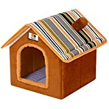 Cesta para Mascotas Hecha de Felpa 5 Colores Diferentes y 4 tamaños - Lavable y a Prueba de arañazos casa para los Perros y Gatos (Style 3, L (43x37x43cm))
