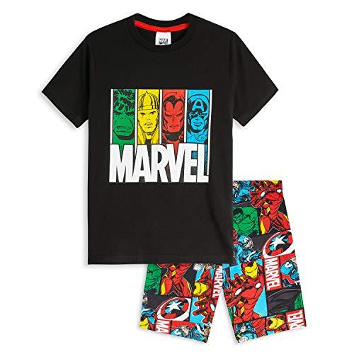 Marvel Schlafanzug Jungen Kurz, Avengers Pyjama Kinder 100% Baumwolle, Zweiteilig Sommer Schlafanzug mit Captain America Thor Hulk, Geschenke für Kinder (9-10 Jahre)