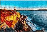 The Hornby Lighthouse in a Beautiful Pacific Sunrise Lighthouse Rompecabezas para adultos Juguete educativo para niños Rompecabezas de madera creativos para decoración del hogar, 500 piezas 52 * 38 cm