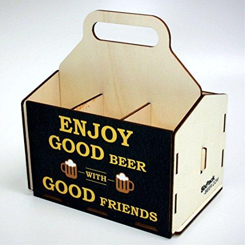 Bierträger aus Holz - Sixpack Männer (Enjoy Good Beer), Bier, Grillzubehör, 50. Geburtstag, 40. Geburtstag, 60. Geburtstag, Grillparty