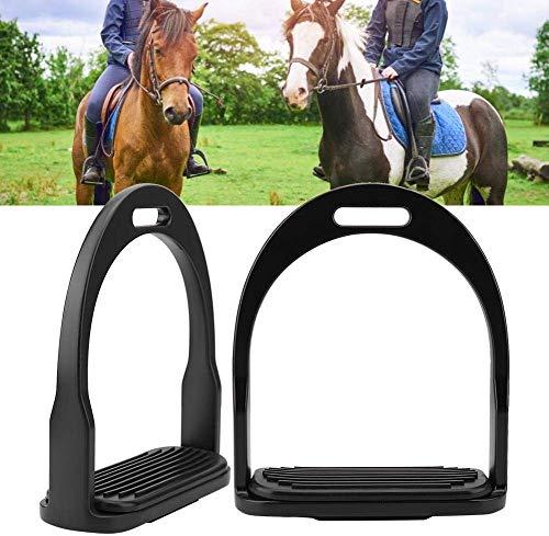 Pssopp Horse Stirrup Die Gieten RVS Rijkleur Aluminium Lichtgewicht Paard Stijgbeugels Paard Rijden Zadel voor Rijden Veiligheid Met Rubber Paard Mat, Zwart