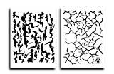 Acid Tactical 2 Pack - 9x14' Camouflage Airbrush Spray Paint Camo Stencils - Jon Boat Template Tree Back/Cracked Earth