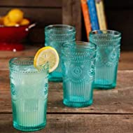 Set of 4, Dishwasher Safe, 16-Ounce Emboss Glass Tumblers, Turquoise