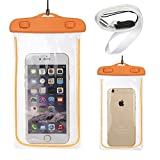 Universal Waterproof Bag With Luminous,Transparent Screen Protector Waterproof Pouch for iPhone 6,6 Plus,5S 5C 5 4S,Samsung Galaxy S6 Edge/S6/5/4/3, Note 4/3/2/1,HTC M9/8/7,LG G4/3/2, iTouch (Orange)