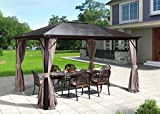 Erommy 10x12ft Outdoor Hardtop Gazebo Canopy Aluminum Furniture Pergolas with Netting and Curtains for Garden,Patio,Lawns,Parties