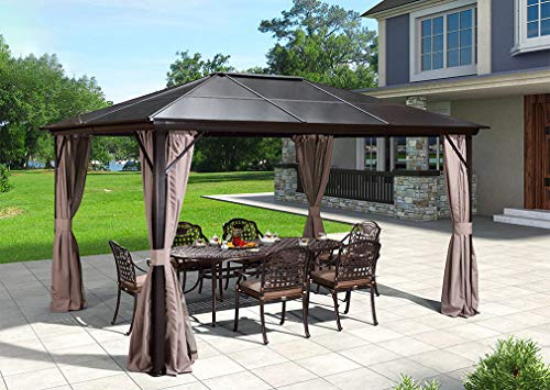 Erommy Hardtop Gazebo with Netting - 10 ft. x 12 ft.
