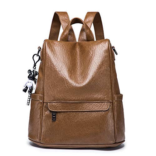 NIYUTA bolsos mochila Mujer moda antirrobo casual viaje cuero escolares mochila marrón