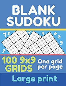 Blank sudoku  100 9x9 grids one per page large print