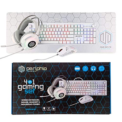 Periphio Gaming 4 in 1 Bundle - RGB Mechanical Gaming Keyboard, Gaming Mouse 10,000 DPI, USB 7.1 Surround Gaming Headset & XL Mousepad Combo for Windows PC/Mac Gamers (White)