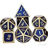 Yourandoll - Juego de dados de metal de aleación de zinc D20 D12 D10 D8 D6 D4 juego de dados para Dungeons y Dragons DND Dice RPG MTG 16 mm (azul dorado)