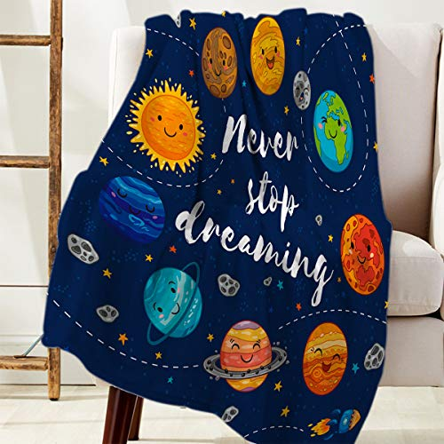 DaringOne Comfy Plush Fleece Throw Blanket 40x50 inch Quote Outer Space Soft Coach Blanket Lightweight Stadium Blanket Planets and Star Cluster Solar System