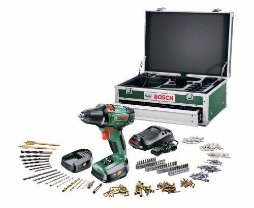 Bosch Universal PSR 14,4 - Trapano avvitatore a batteria + set 241 accessori + scatola + 2 batterie e caricatore 1 ora, 14,4 V, max. 40 Nm