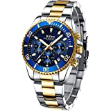 Mens Watches Chronograph Gold Blue Stainless Steel Waterproof Date Analog Quartz Watch Business Casual Fashion Wrist Watches for Men