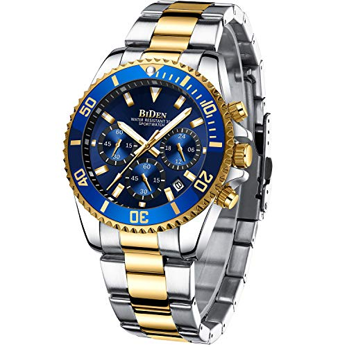 Mens Watches Men Designer Chronograph Military Waterproof Analogue Quartz Watch Men Stainless Steel Wrist Watch Fashion Large Date Watches for Men Gold Blue